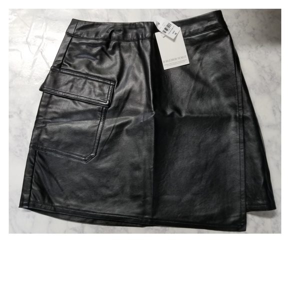 LF Dresses & Skirts - NWT LF Pleather Wrap Around Skirt Black Size XS